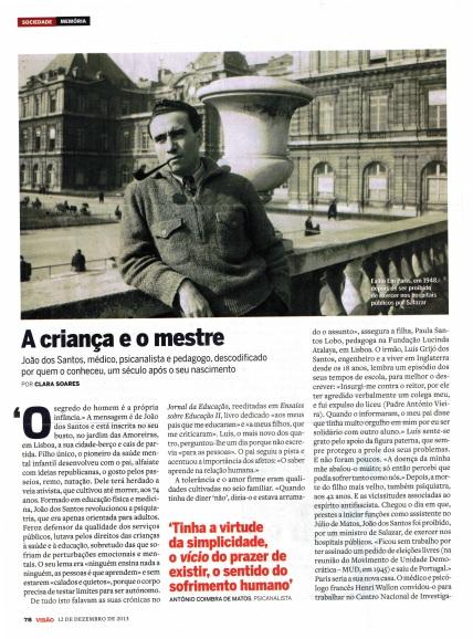 A criança e o mestre - artigo subscrito pela jornalista e psicóloga Clara Soares - revista Visao No 1084 de 12 a 18 de Dezembro de 2013 - 1