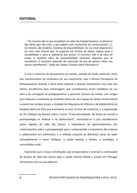 EDITORIAL da Revista Portuguesa de Pedopsiquiatria - 2013 - No 35 Page 1